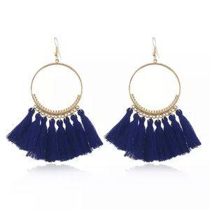 Jewelry - Blue Boho Tassel Earrings